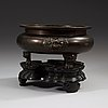 A large bronze tripod censer, ming dynasty (1368-1644), with xuande six character mark.