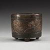 A parcel-gilt bronze censer, ming dynasty 16th/17th century, with the six-character mark yunjian hu wenming zhi.