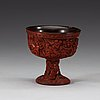 A carved cinnabar lacquer stem cup, qing dynasty, 17th/18th century.