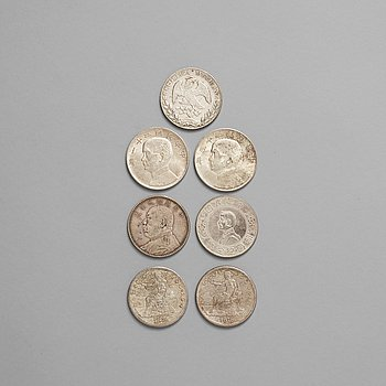 7. A group of seven silver coins, USA, Mexico and China, dated 1874-1920).