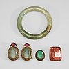 A nephrite bracelet, a metal mounted pink tourmaline, two nephrite and paste pendants, and nephrite item, late qing.