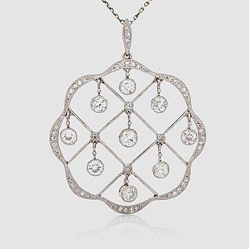 """1117. COLLIER med hängande gammalslipade samt rosenslipade diamanter """"en tremblant"""" totalt ca 1.25 ct."""