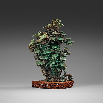 208. A large, Chinese carved jade pine tree with birds, 20th Century.