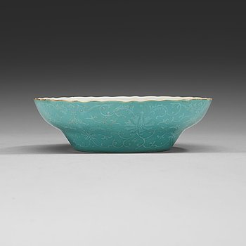 2. A turquoise slip decorated bowl, Qing dynasty, with Daoguangs seal mark in red and period (1821-50).