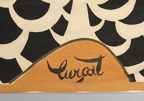 "Väggbonad, textiltryck, ""la table"", jean lurcat, signerad, 1950-tal."