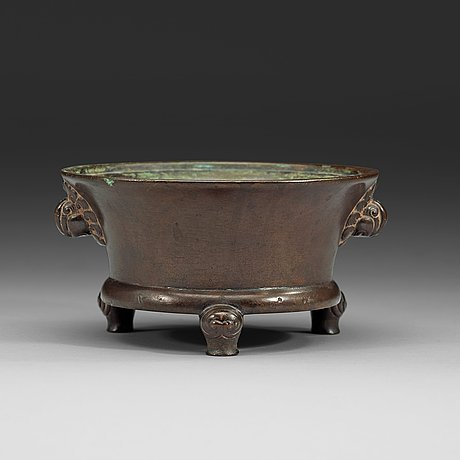 A bronze tripod censer, ming dynasty (1368-1644) with xuande six charachter mark.