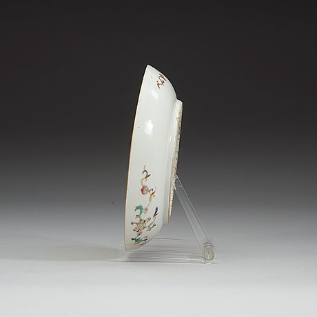 A yellow ground famille rose dish, late qing dynasty, with qianlong six character mark.