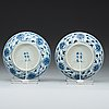 A pair of blue and white lotus dishes, qing dynasty, guangxu six character mark and period (1874-1908).