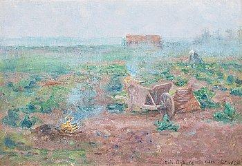 542. Anshelm Schultzberg, Fransk lantbruksscen, Etaples.