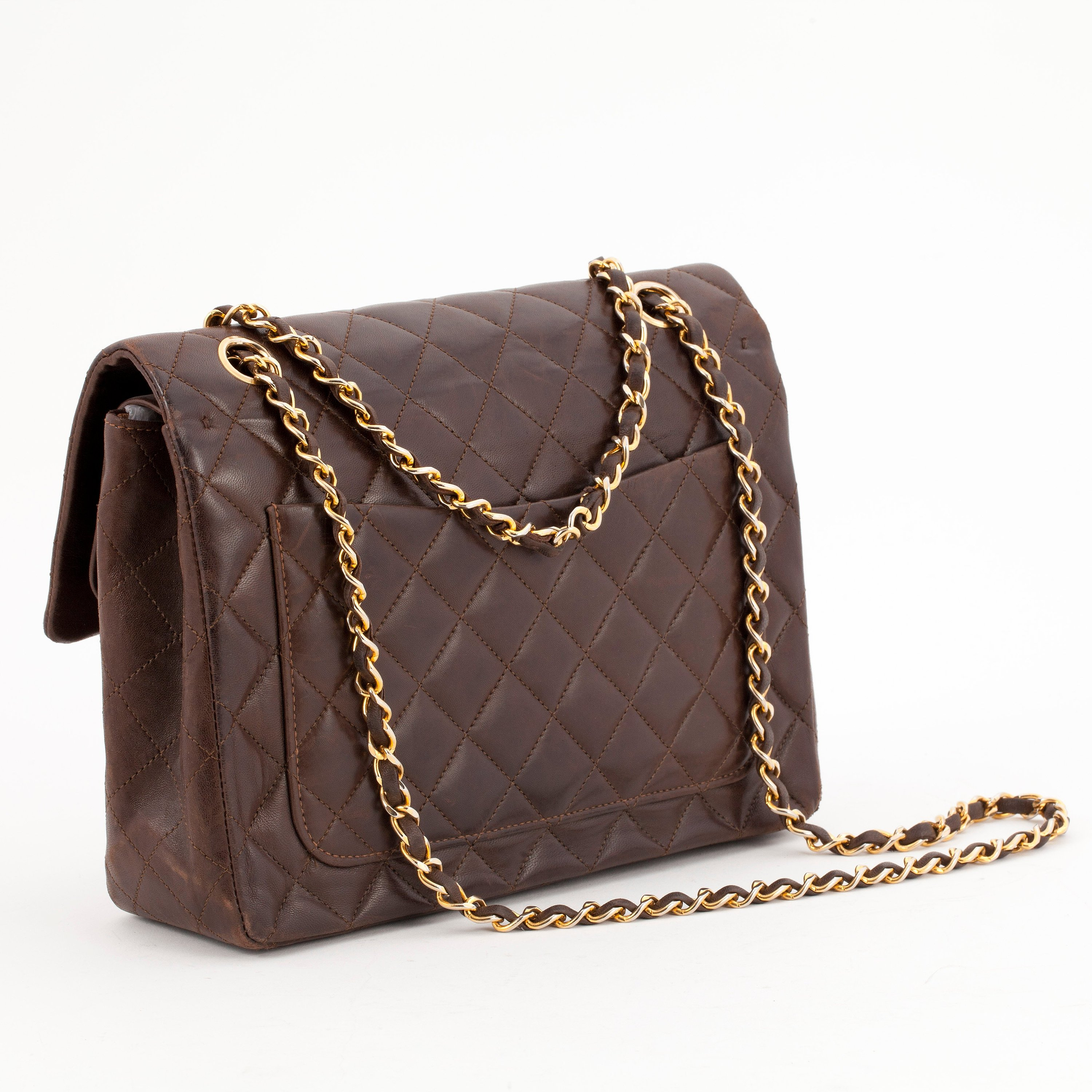 shop for newest unparalleled how to purchase CHANEL, a quilted brown leather purse,
