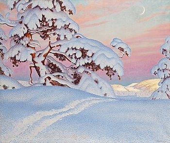 539. Gustaf Fjaestad, Skidspår i snön.