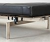 A poul kjaerholm 'pk-80' steel and black leather daybed by fritz hansen, denmark 2005, maker's mark in the steel.