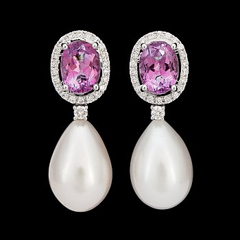 12. A pair of pink topaz, 3.27 cts in total, diamond, 0.36 ct in total, and cultured drop formed pearl earrings.