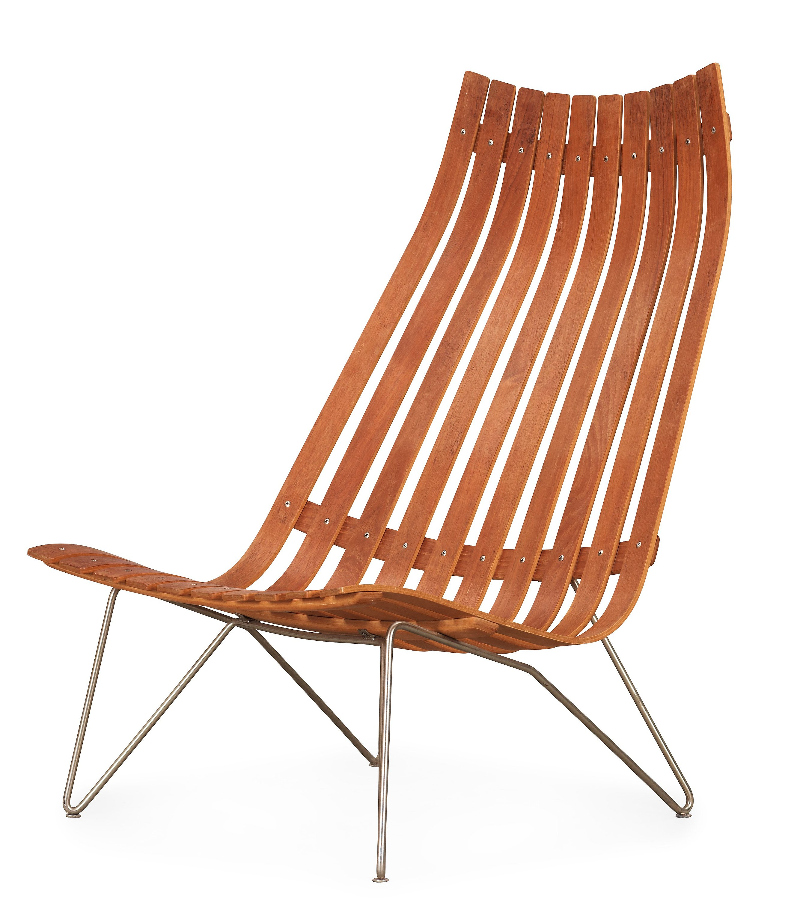 A Hans Brattrud teak and steel Scandia lounge chair, Hove Møbler ...