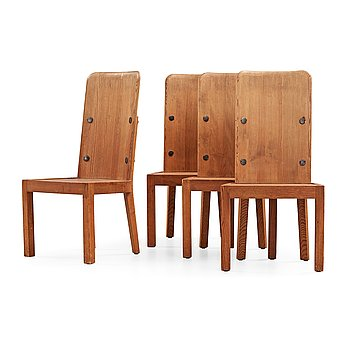 500. A set of four Axel Einar Hjorth 'Lovö' stained pine chairs, Nordiska Kompaniet, Sweden 1930's.