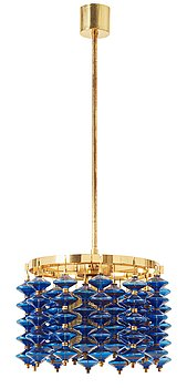 11. A Hans-Agne Jakobsson brass and blue glass ceiling lamp, Markaryd, Sweden 1960's-70's.