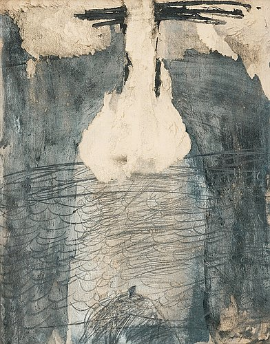 """Antoni tàpies, """"grafismes sobre papel color oliva amb esquincats""""."""