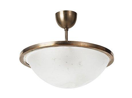 An edward hald engraved glass hanging lamp, orrefors, sweden 1920's.