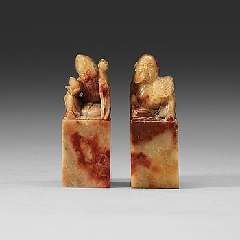 206. Two nephrite seals, Qing dynasty (1644-1912).