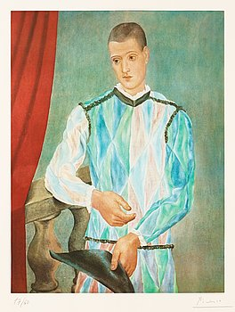 """304. Pablo Picasso, """"Harlequin"""", from: """"Barcelona suite""""."""