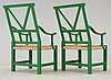 A pair of john kandell green lacquered 'victory' chairs, källemo sweden post 1990.