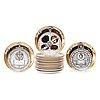 A set of 16 piero fornasetti 'astro labio' porcelain plates, milano, italy.