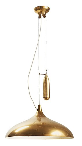 A brass hanging lamp, attributed to paavo tynell, taito oy,  probably finland 1940's-50's.