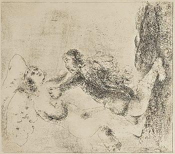 """210. Marc Chagall, """"Abraham et les trois Anges""""; """"Jacob béni par Isaac""""; """"L'echelle de Jacob""""; """"La lutte avec l'ange"""", from: """"La Bible""""."""