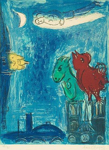 """Marc chagall, """"les monstres de notre-dame"""", from: """"derière le mirroir, no 66-68""""."""