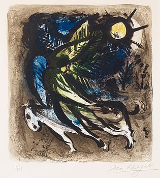 """219. Marc Chagall, """"L'Ange"""", from: """"The lithographs of Chagall volume one""""."""