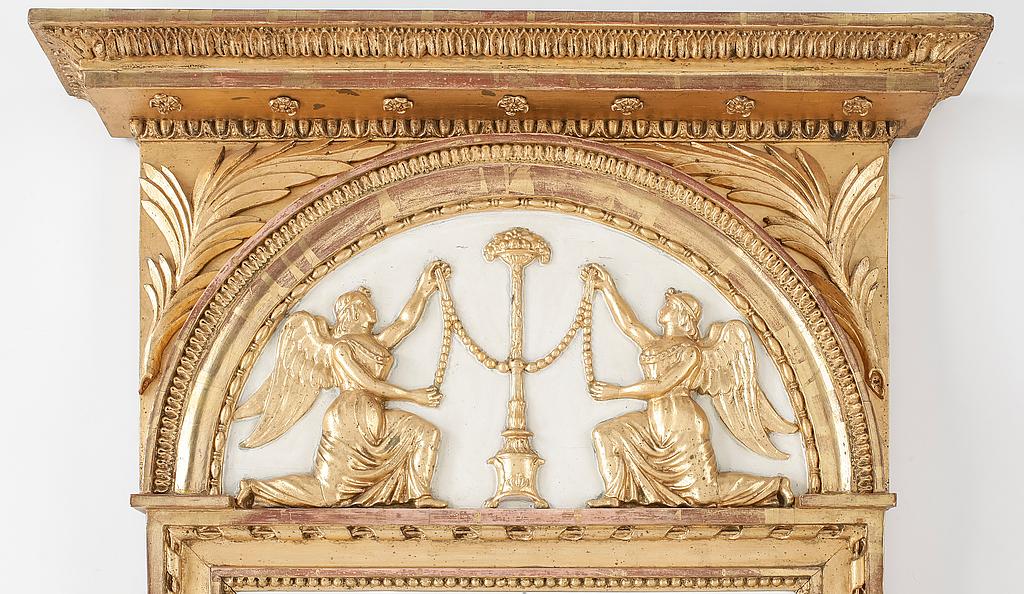 byrå spegel hall ~ spegel, sengustaviansk, med stockholms hallstämpel