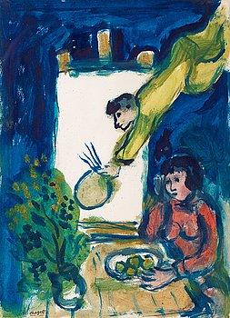 """340. Marc Chagall, """"Le peintre et Bella à table""""."""