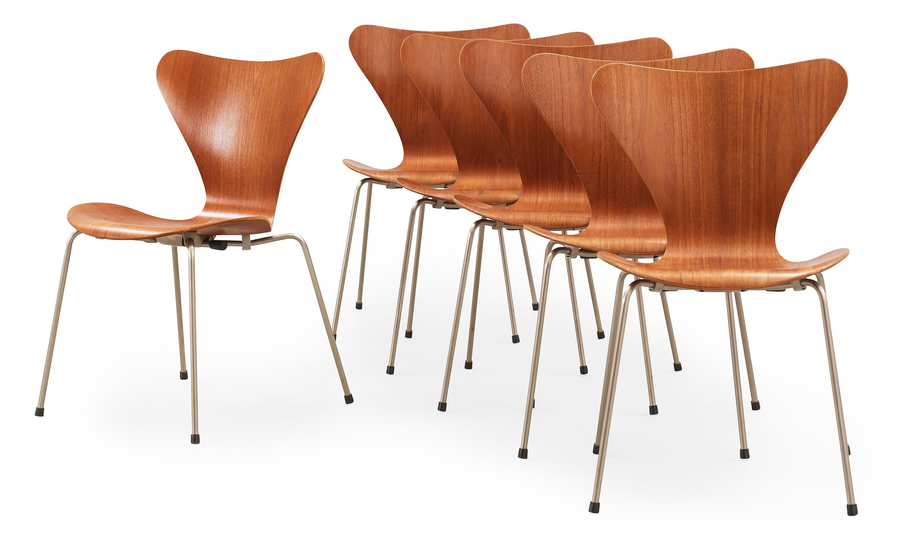 A Set Of Six Arne Jacobsen Series 7 Teak And Steel Chairs Fritz