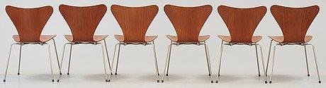 "Arne jacobsen, stolar, 6 st, ""sjuan"", fritz hansen, danmark 1950-tal."