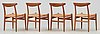 A set of four hans j wegner teak and rattan chairs, cm madsen, denmark 1950's-60's.