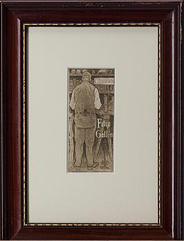 AKSELI GALLEN-KALLELA, exlibris, plåtsignering och datering 1897.