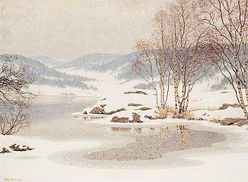 538. Gustaf Fjaestad, Rimfrosten lägger sig.