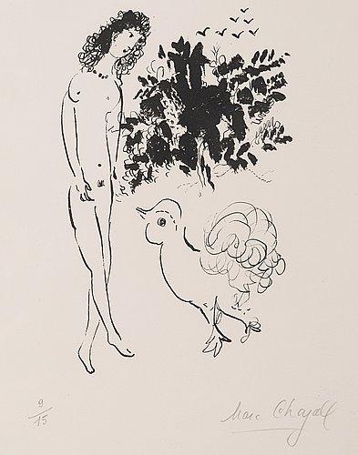 """Marc chagall, """"nu avec coq""""."""