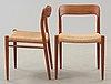 A set of six niels ole møller teak chairs, jl møller, højberg, denmark 1950's-60's.