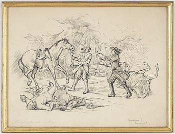 ALBERT EDELFELT, teckning, signerad.