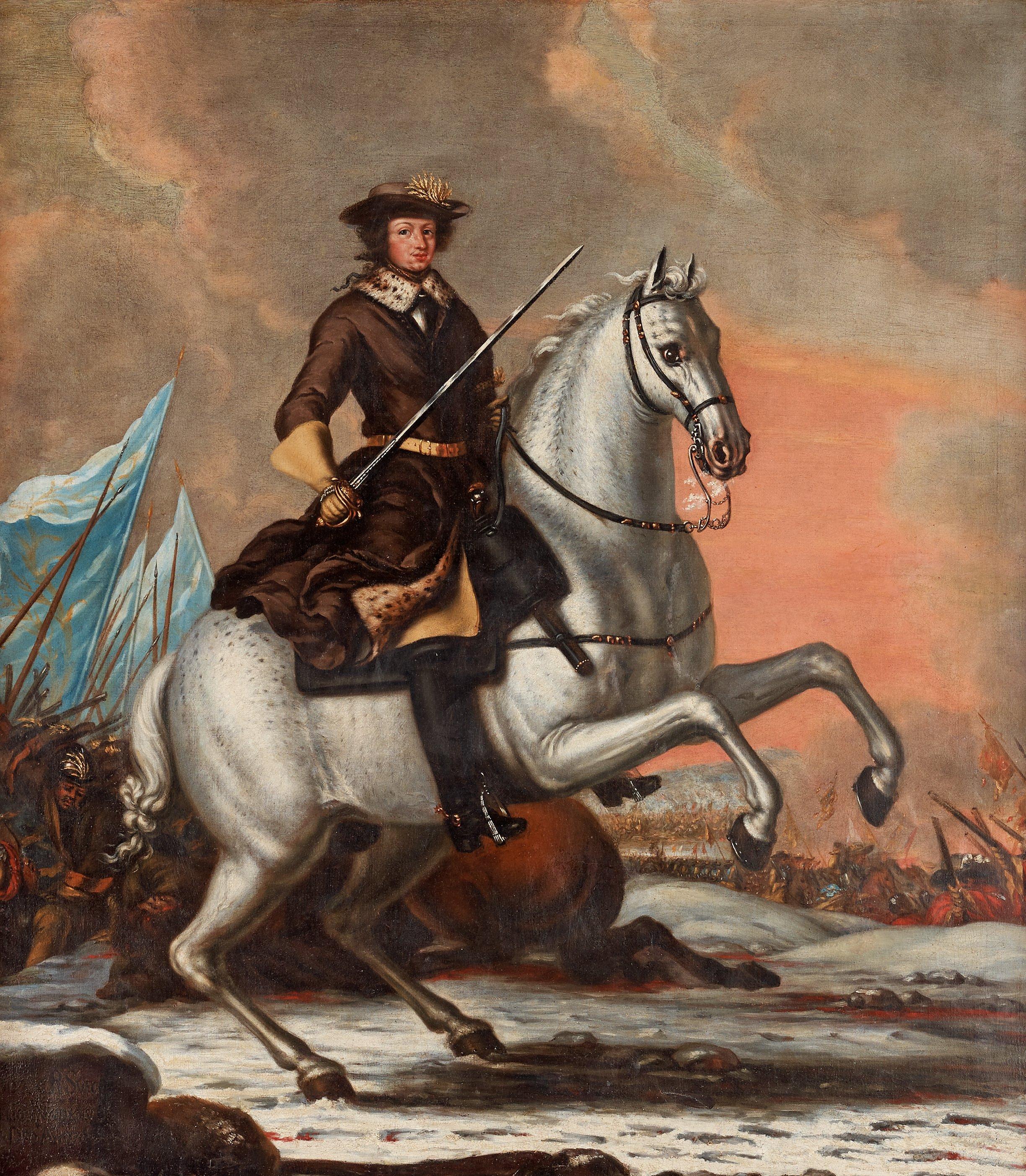 DAVID KLÖCKER EHRENSTRAHL His studio, King Charles XI (1655-1697) at the  battle of Lund 1676. - Bukowskis