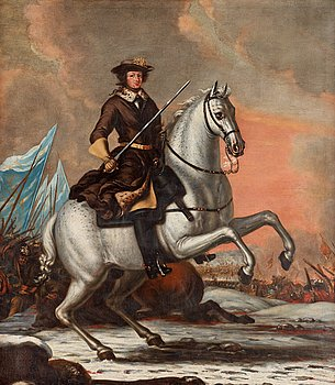 783. David Klöcker Ehrenstrahl His studio, King Charles XI (1655-1697) at the battle of Lund 1676.