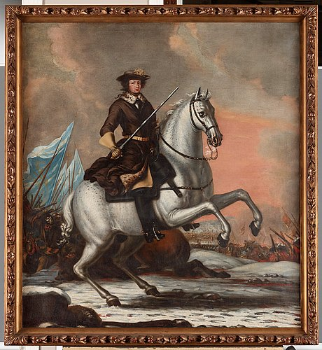David klöcker ehrenstrahl hans ateljé, konung karl xi (1655-1697) på hästen brilliant i slaget vid lund 1676.