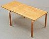 An alvar aalto birch table, huonekalu-ja rakennustyötehdas or aalto design hedemora, probably 1940's-50's.