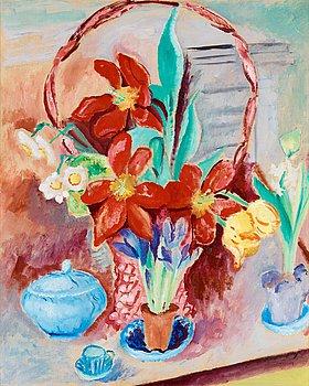 "14. Sigrid Hjertén, ""Tulpaner i blomsterkorg"" (Tupips in flower basket)."