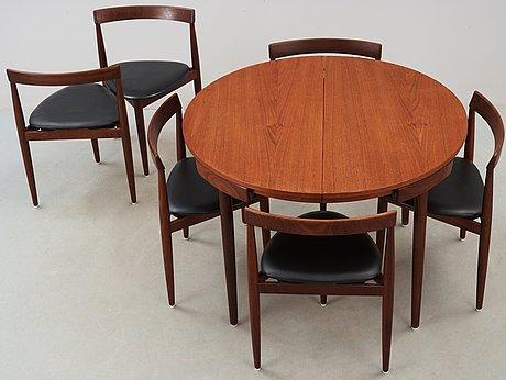 Matbord och stolar, 6 st, hans olsen, frem røjle, danmark 1950-60-tal.