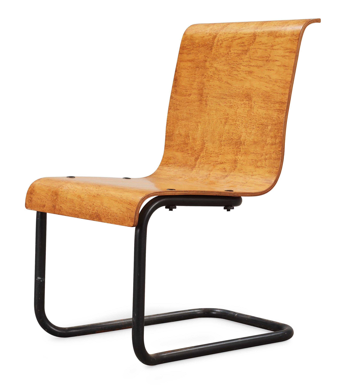 An Alvar Aalto Karelian Birch And Black Lacquered Tubular Steel Stackable Cantilevered  Chair, U0027model 23u0027 Finland 1930u0027s.   Bukowskis