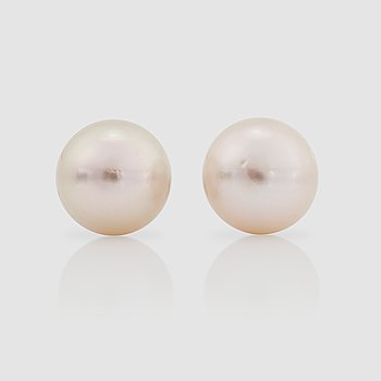 1118. A pair of cultured South Sea pearl, 14.5 mm, earrings.