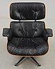 """Charles & ray eames, """"lounge chair"""", enligt uppgift licenstillverkad för nordiska kompaniet, 1960-tal."""