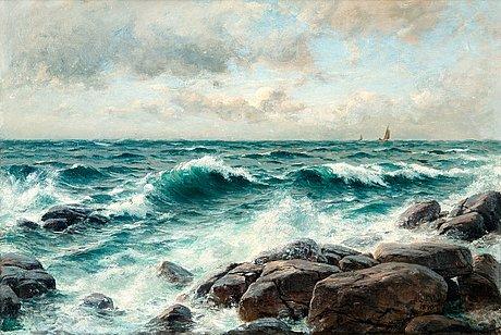Berndt lindholm, breaking waves on the beach.